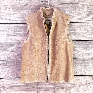 NWT Coldwater Creek Suede Embroidered Vest